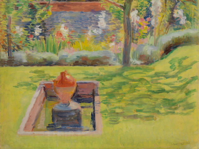 Vanessa Bell (British, 1879-1961) The Pool in the Walled Garden, Charleston 38.1 x 46.3 cm. (15 x 18 1/4 in.) (Painted circa 1930-40)