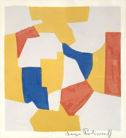 Serge Poliakoff (Russian/French, 1900-1969) Composition in grey, yellow, red and blue Lithograph printed in colours, 1959, on B.F.K. Rives, signed in pencil, further inscribed as a Christmas card in black ink verso, from the unnumbered edition of 200, with margins, 190 x 175mm (7 1/2 x 6 7/8in)(I)