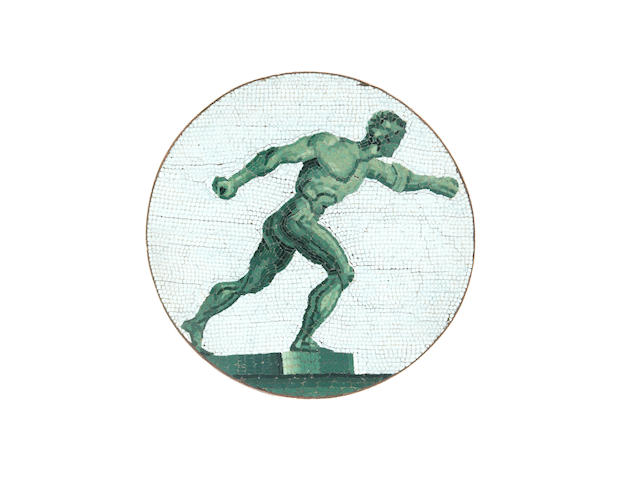 An early 19th century Italian micromosaic plaque of the Borghese Gladiator