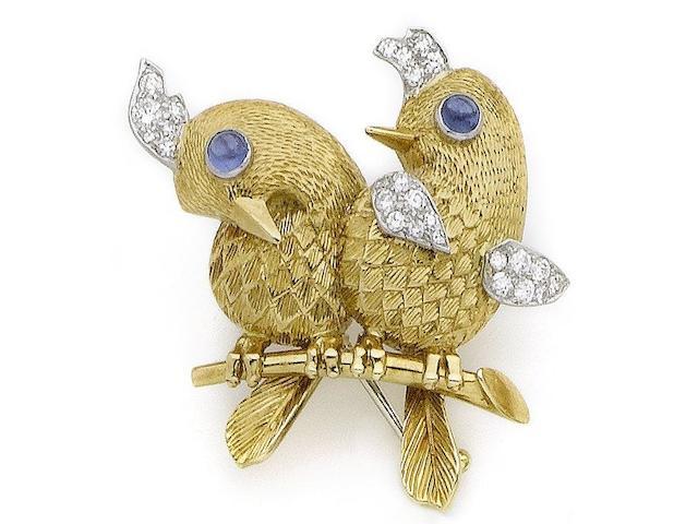 A sapphire and diamond novelty bird brooch, by Cartier,