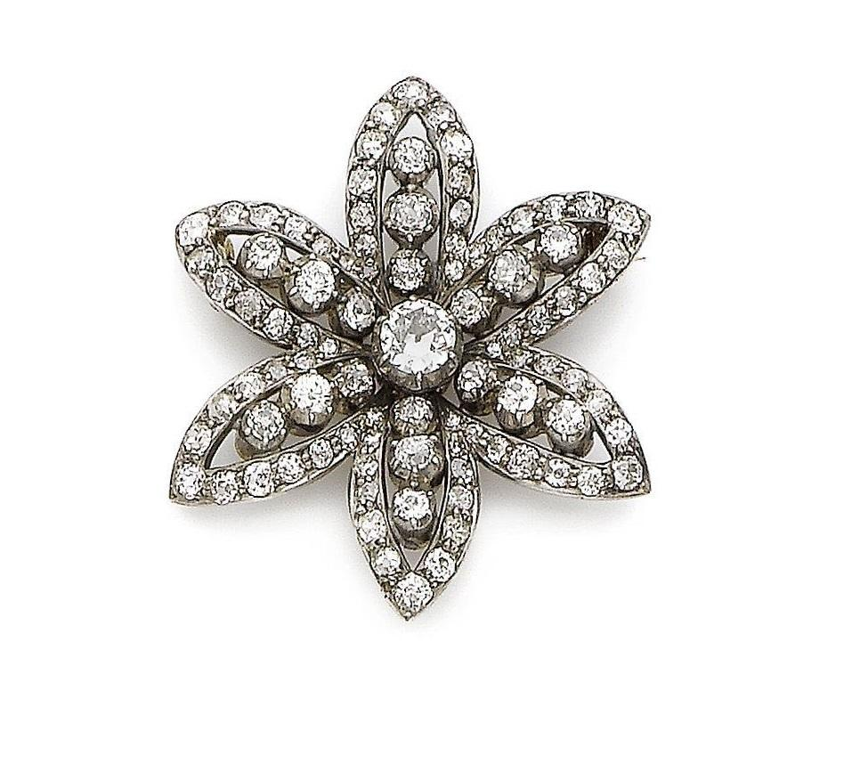 A 19th century diamond flower brooch
