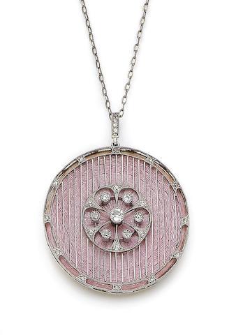 An enamel and diamond pendant,