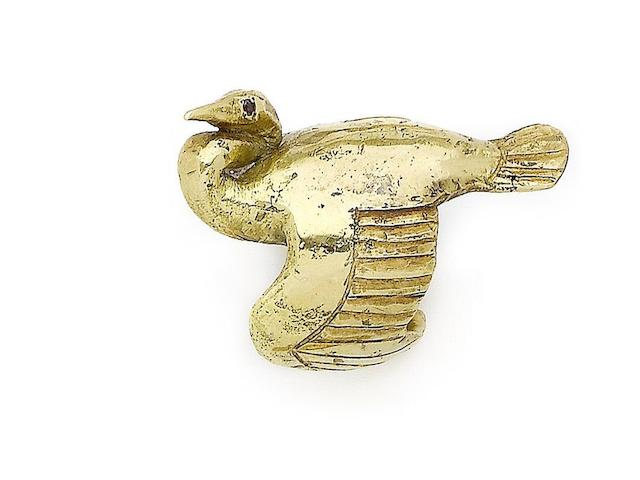 A gold stork ring, by John Donald,
