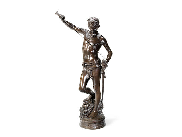 Marius-Jean-Antonin Mercié, French (1845-1916)A large bronze figure of David Après Le Combat cast by Barbedienne from a model by Mercié