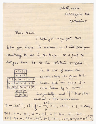 """TURING (ALAN) Autograph letter signed (""""Alan Turing""""), to Maria Greenbaum (""""Dear Maria""""), the eight-year-old daughter of his Jungian analyst, explaining with the aid of three diagrams the moves needed to play out successfully at solitaire, Hollymeade, Adlington Road, Wilmslow, despatch (Wilmslow) datestamp 10 July 1953, with enclosed diagram and envelope"""