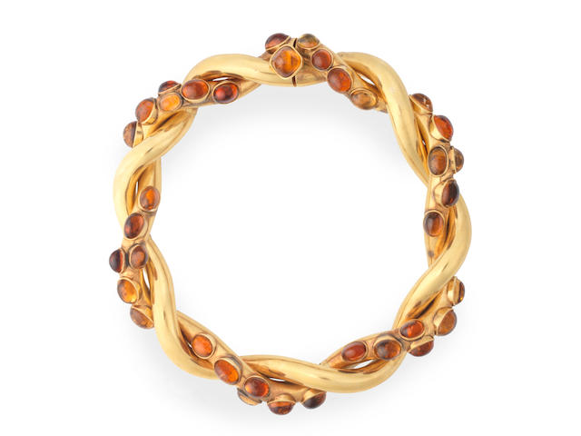A retro citrine-set twist necklace, by Chanel,