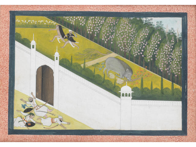 A boar rampaging in a palace courtyard Pahari, perhaps Guler, circa 1830