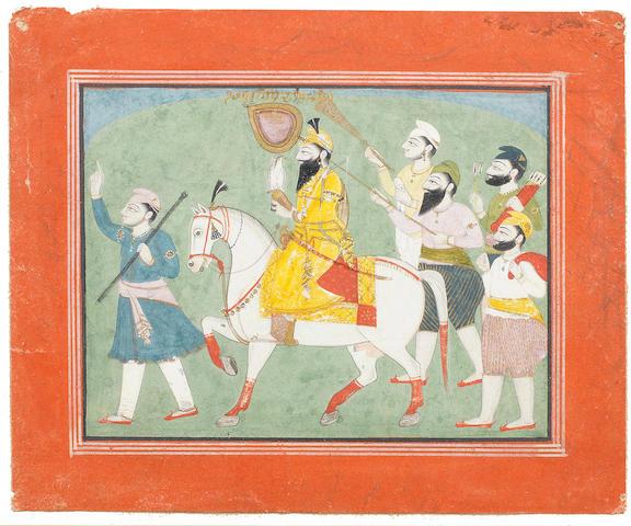 The Sikh Guru Gobind Singh on horseback accompanied by attendants Punjab Plains, circa 1820-30