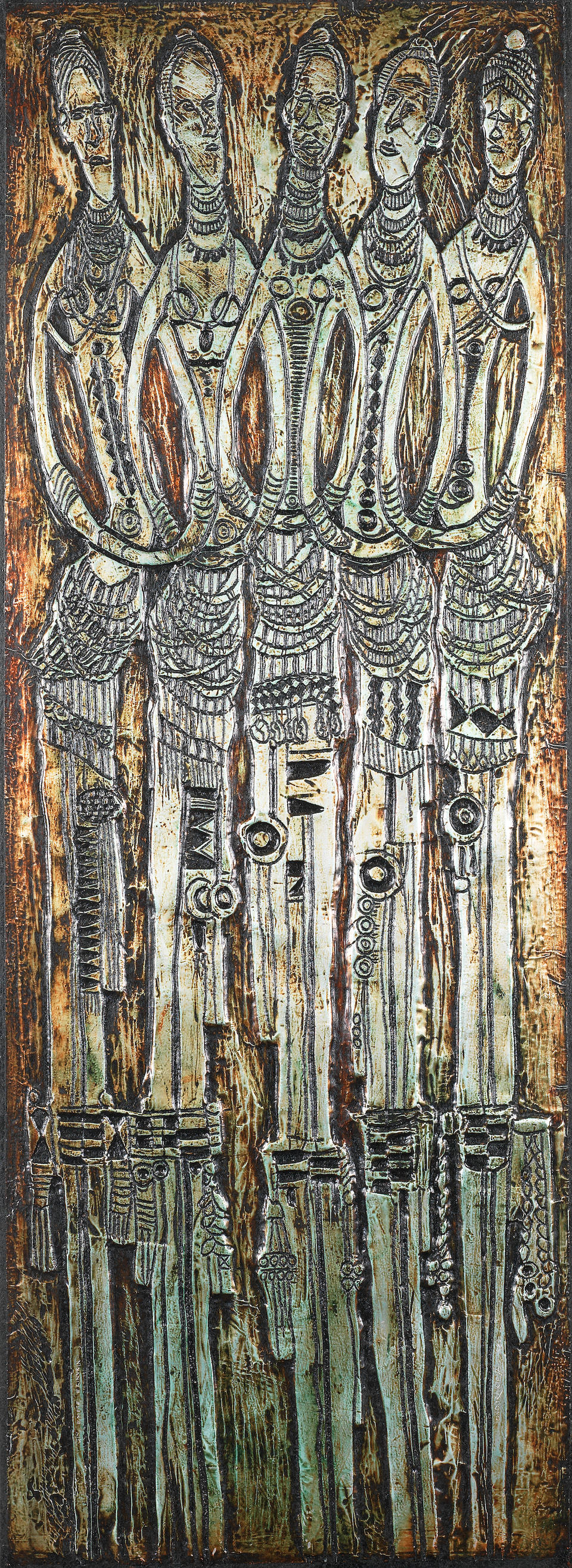Bruce Onobrakpeya (Nigerian, born 1932) Five metal foil relief (repoussé) panels: 149 x 60cm (58 11/16 x 23 5/8in) and smaller. (5)