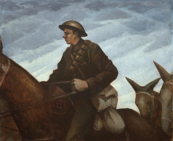 Christopher Richard Wynne Nevinson (British, 1889-1946) Mule Team 63.5 x 76.2 cm. (25 x 30 in.) (Painted between September 1917 and March 1918)