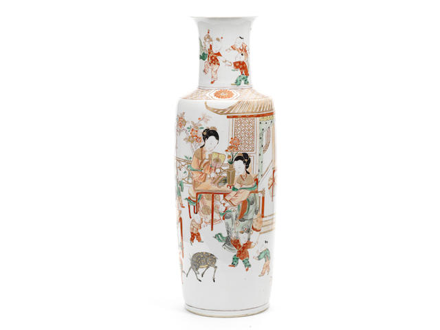 A large and rare enamelled rouleau vase Kangxi