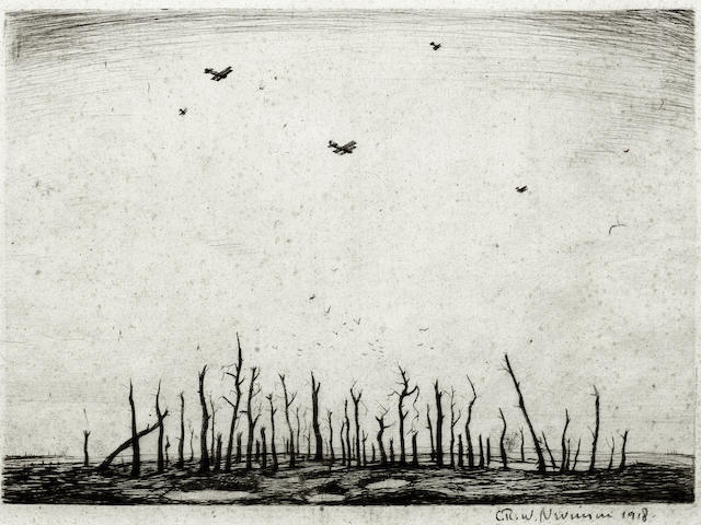 Christopher Richard Wynne Nevinson (British, 1889-1946) That Cursed Wood (Black 38) The rare drypoint, 1918, on watermarked laid, signed and dated in pencil, with wide margins, 250 x 349mm (9 7/8 x 13 3/4in) (PL)