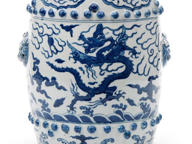A rare blue and white 'dragon' garden seat Second half 16th century