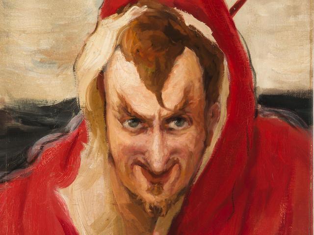 Ilya Efimovich Repin (Russian, 1844-1930) Portrait of G. G. Ge as 'Mephistopheles' unframed
