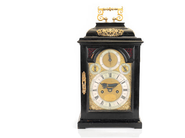 A rare early 18th century ebony veneered, gilt-metal mounted quarter-repeating table clock, Daniel Quare, London, No. 160