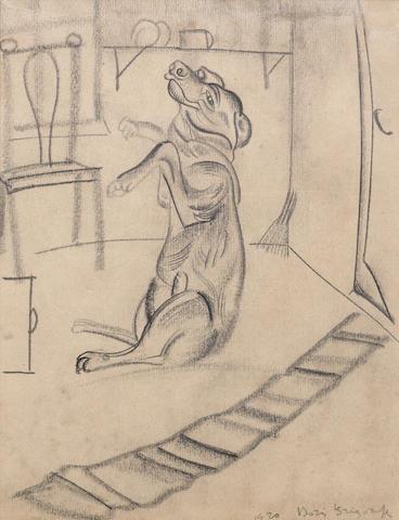 Boris Dmitrievich Grigoriev (Russian, 1886-1939) Sketch of a dog