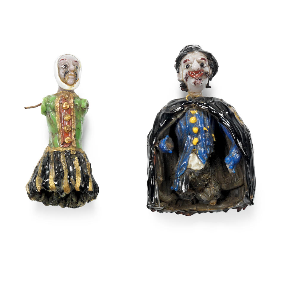 A remarkable Venetian lampwork figure fragment and two other fragmentary figures, 17th century