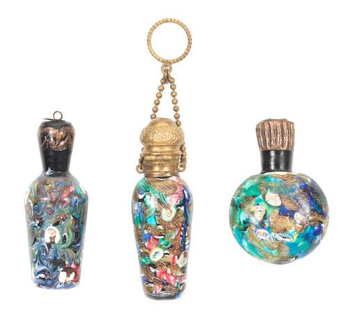 Three Venetian millefiori scent bottles, circa 1845-60