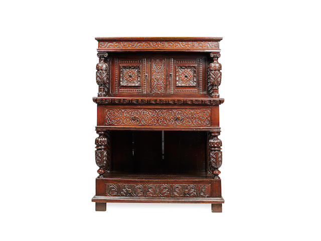 A rare and unusual Elizabeth I/James I oak joined cupboard on stand, Gloucestershire, circa 1600 - 20