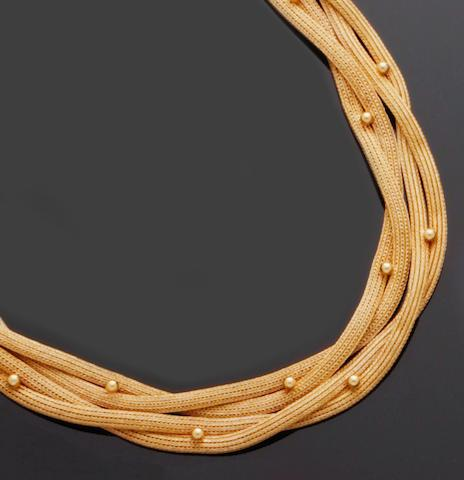 A yellow precious metal collar necklace and bracelet (2)