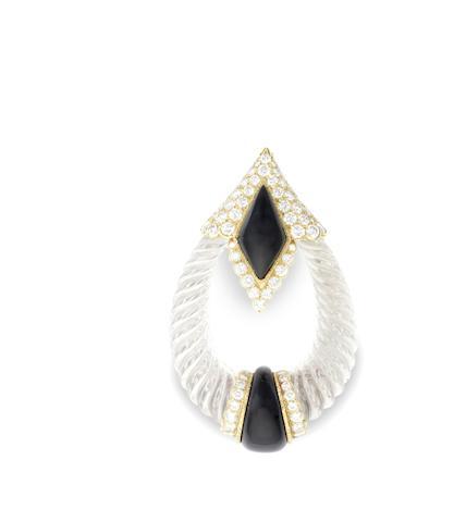 A rock crystal, onyx and diamond brooch/pendant by Boucheron,