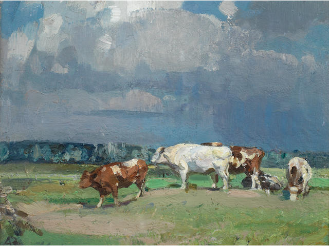 Sir John Alfred Arnesby Brown (British, 1866-1955) 'Sunlit cattle, Haddiscoe'