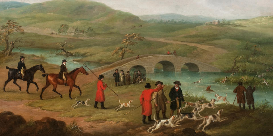 John Nost Sartorius (London 1759-1828) Otter hunting, a set of three ((3))