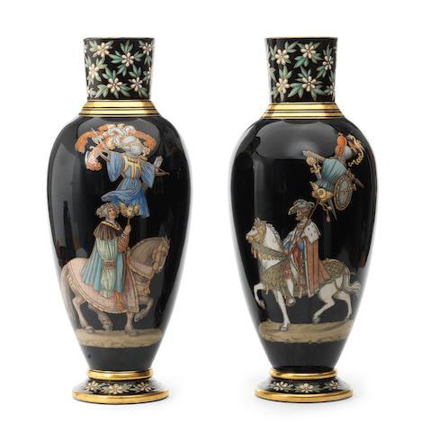 An impressive pair of Bohemian enamelled vases, circa 1875-80