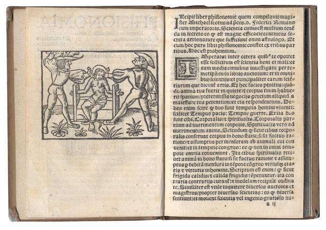 SCOTUS (MICHAEL)  Phisionomia Magistri Michaelis Scoti. Si prudentiam. Si cautellam. Si sanitatem. Si fiduciam, [Paris, Geoffroy Enguilbert and Jean de Marnef, 1509?]
