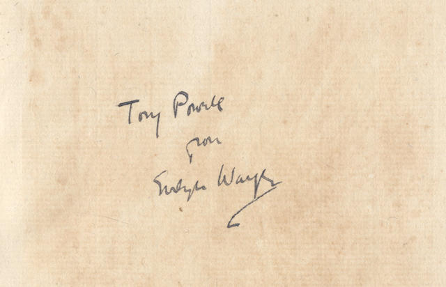 "WAUGH (EVELYN) P.R.B. An Essay on the Pre-Raphaelite Brotherhood 1847-1854, FIRST EDITION, ONE OF 50 COPIES, AUTHOR'S PRESENTATION COPY, INSCRIBED ""Tony Powell from Evelyn Waugh"" on front free endpaper, [Privately Printed by] Alastair Graham, 1926"