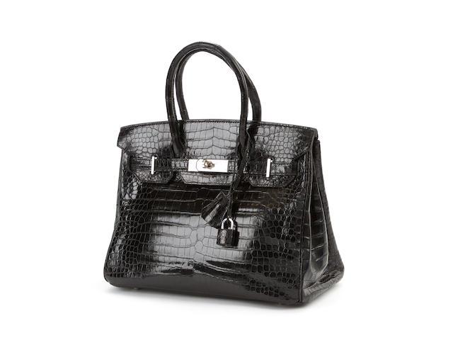 HERMÈS: A black crocodile 'Birkin' handbag 2007, crocodylus porosus