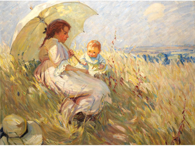 Dorothea Sharp, RBA, ROI (British, 1874-1955) Cornfield in Summertime