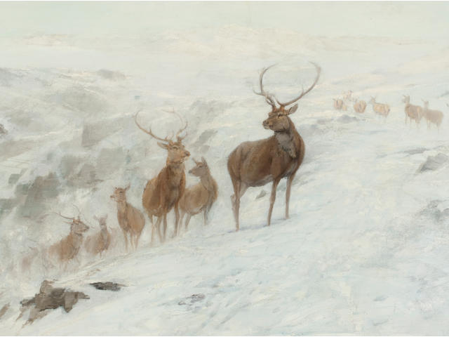 John Sydney Steel (British, 1863-1932) Stags in a winter landscape