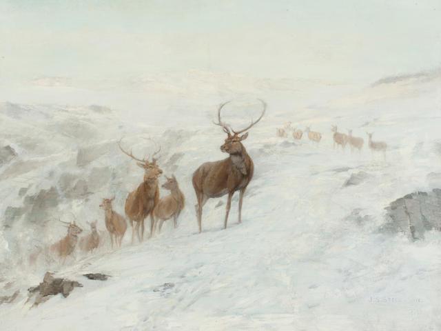 John Sydney Steel (British, 1863-1932) Stags in a winter landscape