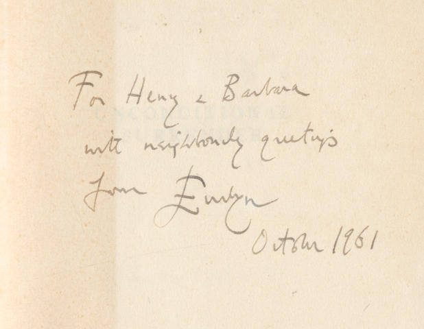 """WAUGH (EVELYN) Unconditional Surrender, FIRST EDITION, AUTHOR'S PRESENTATION COPY, INSCRIBED """"For Henry & Barbara with neighbourly greetings from Evelyn, October 1961"""" on front free endpaper, Chapman & Hall, 1961"""