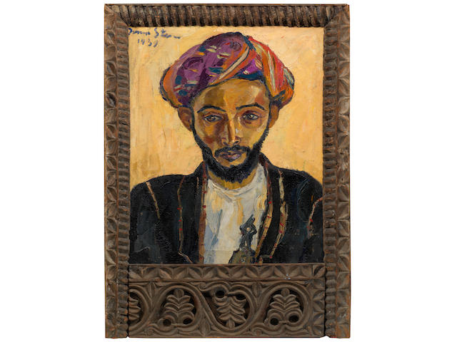 Irma Stern (South African, 1894-1966) 'Arab in Black' (within an original Zanzibar frame)