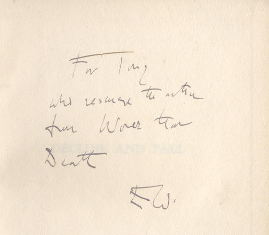 """WAUGH (EVELYN) Decline and Fall, FIRST EDITION, FIRST ISSUE, AUTHOR'S PRESENTATION COPY, INSCRIBED """"For Tony who rescued the author from worse than death, E.W."""" on front free endpaper, Chapman & Hall, September 1928"""