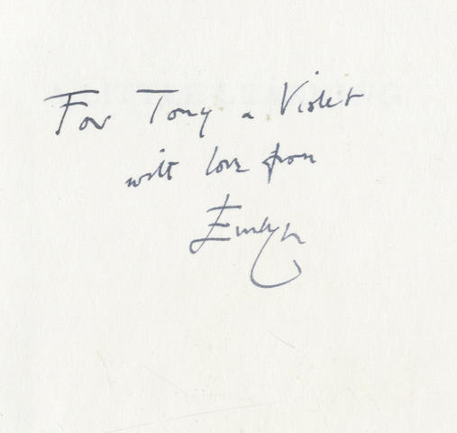 "WAUGH (EVELYN) A Little Learning. The First Volume of an Autobiography, FIRST EDITION, AUTHOR'S PRESENTATION COPY, INSCRIBED ""For Tony & Violet with love from Evelyn"" on front free endpaper, Chapman & Hall, 1964"