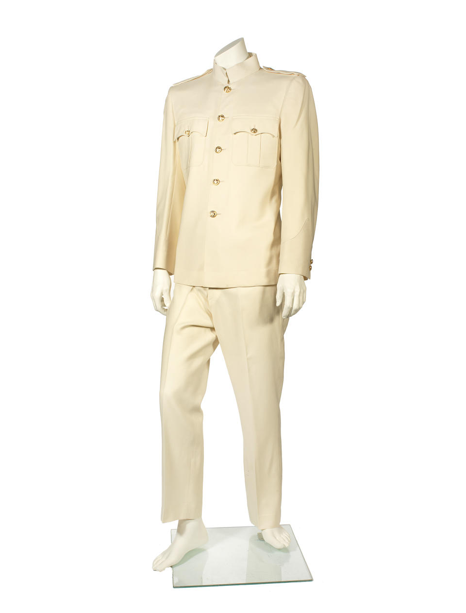The cream two-piece suit worn by Robbie Williams in the music video for the single Radio, 2004,
