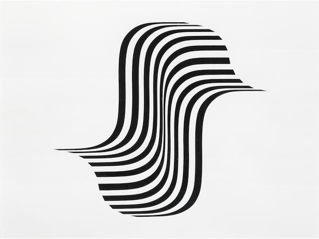 Bridget Riley (British, born 1931) Untitled (Winged Curve) Screenprint, 1966, on wove, signed, dated and numbered 9/75 in pencil, printed by Kelpra Studio, London, with full margins, 575 x 625mm (22 5/8 x 24 5/8in)(SH)