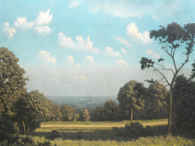 Algernon Cecil Newton R.A. (British, 1880-1968) City of London from Hampstead 76.2 x 101.6 cm. (30 x 40 in.)