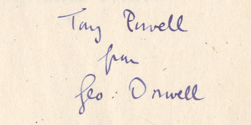 "ORWELL (GEORGE) Animal Farm, FIRST EDITION, AUTHOR'S PRESENTATION COPY, INSCRIBED ""Tony Powell from Geo: Orwell"" on front free endpaper, Secker & Warburg, 1945"