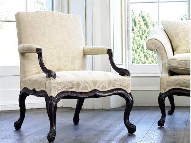 An important pair of George III carved mahogany open armchairs attributed to William and John Gordon  (2)