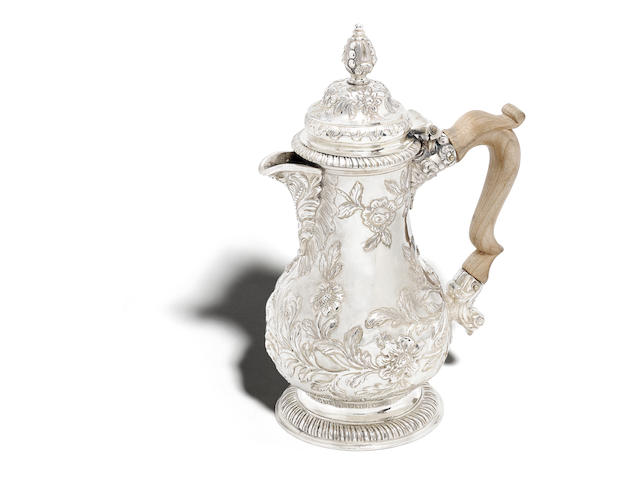 A George II  silver  hot water jug  by Paul de Lamerie, London 1748
