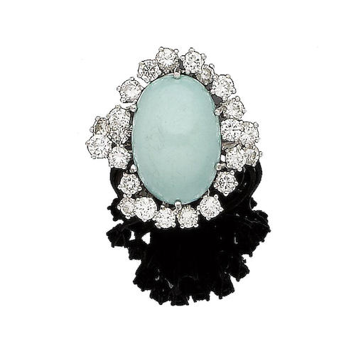 A turquoise and diamond cluster ring, by Puig Doria