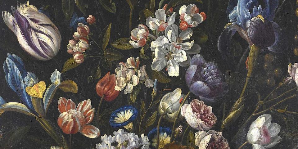 Jan van Kessel the Elder (Antwerp 1626-1679) A still life of tulips, irises, apple blossom, roses, convolvulus, gooseberries and other flowers in a glass vase with shells, caterpillars, a dragonfly and other insects