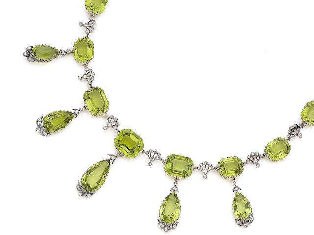 A peridot and diamond fringe necklace,