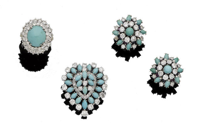 A turquoise and diamond brooch, ring and gem-set earclips (3)