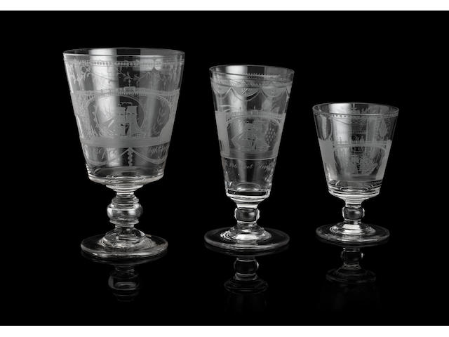 A large Sunderland Bridge serving rummer, A Sunderland Bridge goblet and a Sunderland Bridge rummer  Circa 1825
