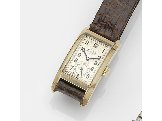 Rolex. A 9ct gold manual wind wristwatch Prince, Retailed by Fortnum & Mason, London, Ref:3059, Serial No.363**, Movement No.204**, Glasgow Import mark for 1937